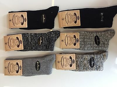 6 Pairs Men/'s Wool Thick Chunky Work Hiking Thermal Boot Socks UK 6-11 JKMGTFR