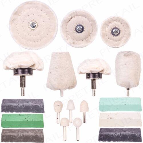 PREMIUM 18Pc POLISHING KIT Buffers Ingots /& Wheels Polish Set Aluminium//Steel