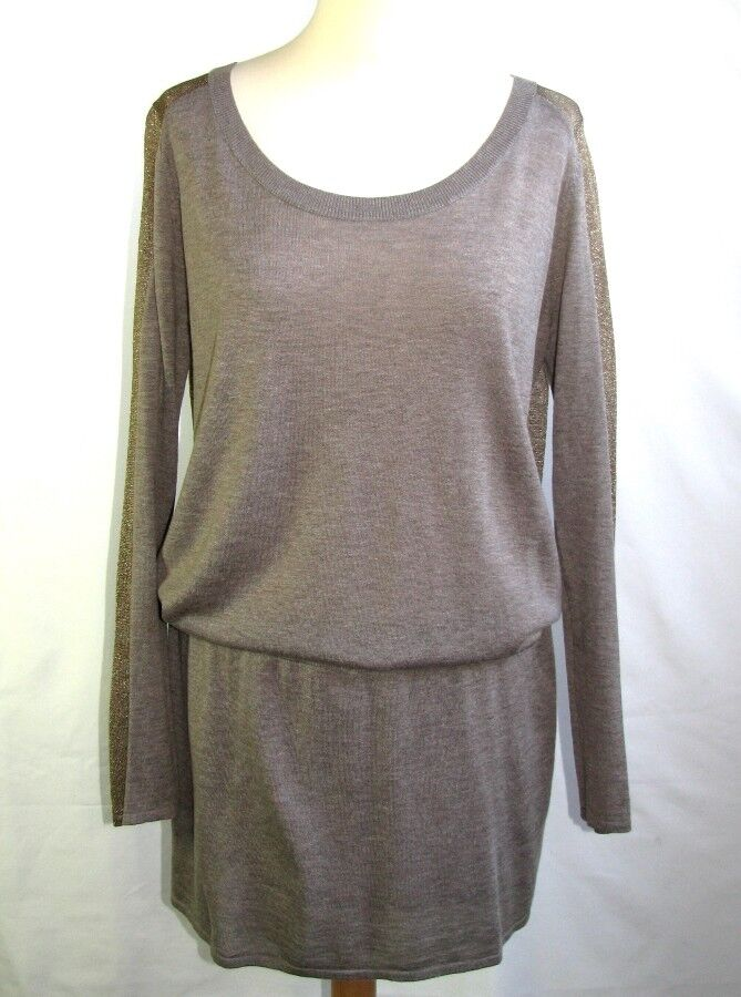 MARIE SIXTINE - DRESS LONG SLEEVES MODEL LYSE WOOL BROWN & gold T L = 40 - NEW