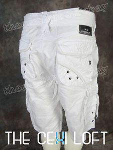NEW Mens REQUEST JEANS Premium CARGO SHORTS in WHITE Trimmed ...