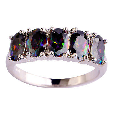 Rare Oval Cut Rainbow Topaz Gemstones Silver Ring Size 6 7 8 9 10 Free Shipping