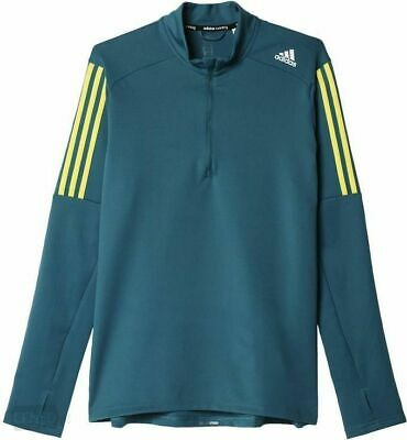 Adidas Homme CLIMALITE Response 12 Zip Lond Manches Courtes Running T SHIRT TRAINING | eBay