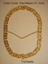 Gold PM#01 Past Master Mason Masonic Chain Collar Jewel Regalia Freemasonry