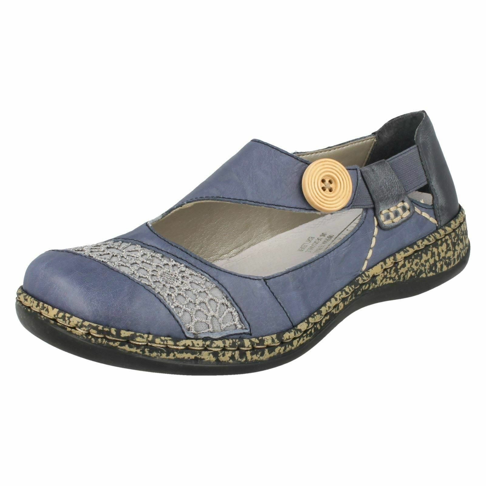 Ladies Rieker 46324 Casual bluee Slip On Leather shoes