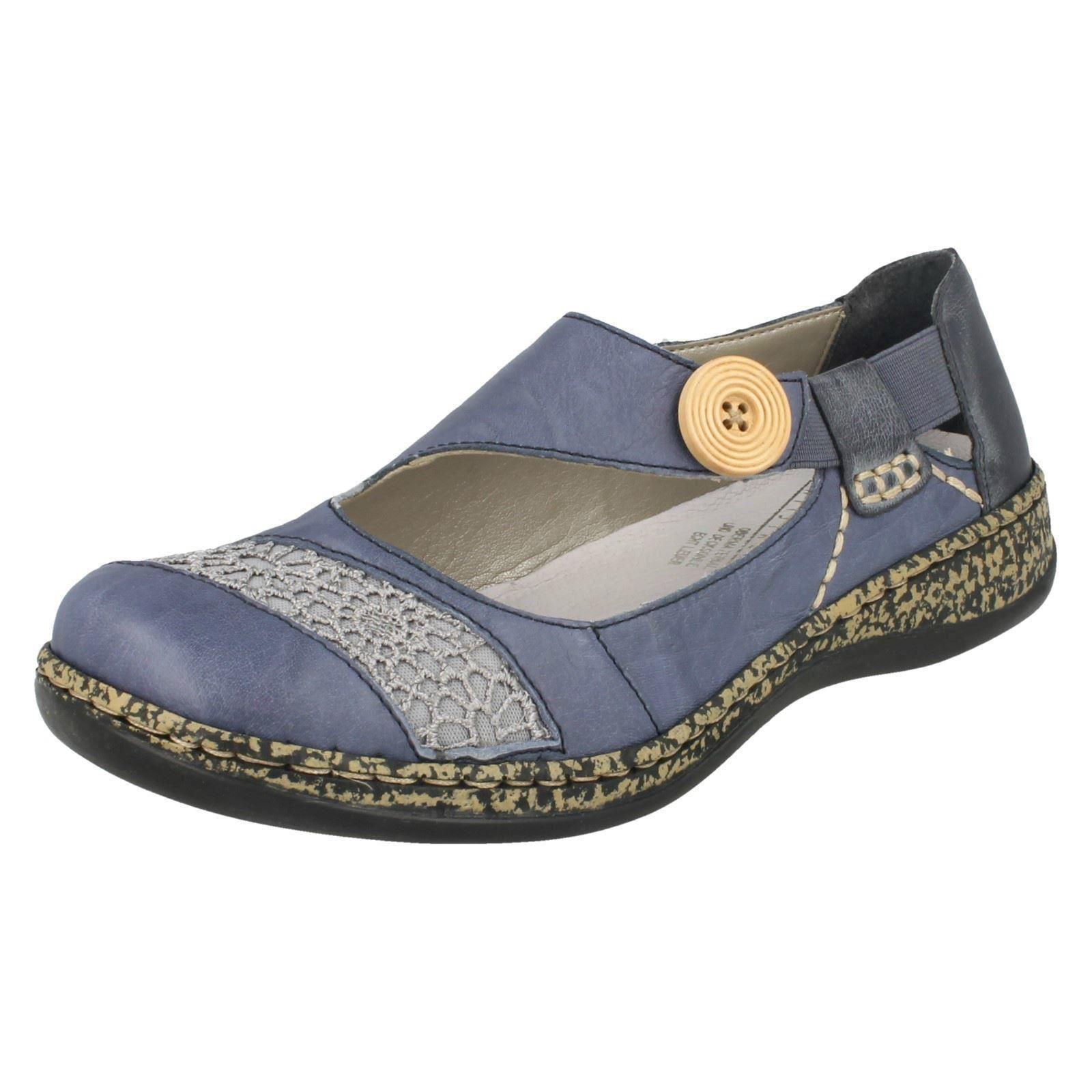 Femmes Rieker 46324 Casual Bleu À Enfiler Chaussures en cuir