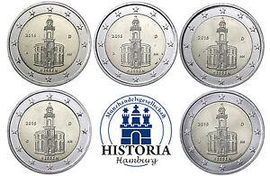 Deutschland-5-x-2-Euro-Paulskirche-2015-bankfrisch-Bundesland-Hessen-A-D-F-G-J