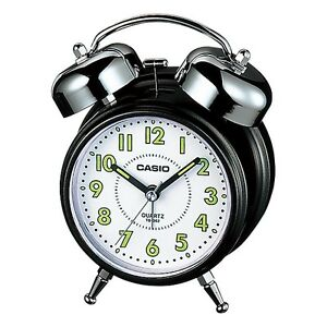 Casio Tq362 1b Whiteblack Desk Top Bell Snooze Alarm Quartz Clock