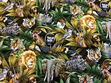 Fabri-Quilt - Forever Wild Patt 9700 - Jungle Animals - 100% Cotton