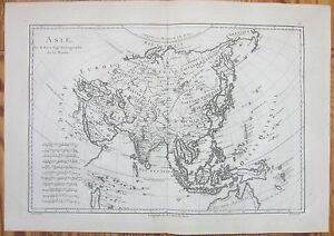 Bonne: Engraved Map Continent Asia - 1787