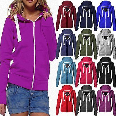 Ladies Plain Fleece Hoody Zip Tops Womens Hoodies Sweatshirt Jackets Girls Hoody