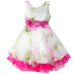 Girl Dress Flower Tulle Party Wedding Pageant Princess Children Clothes Size4-12