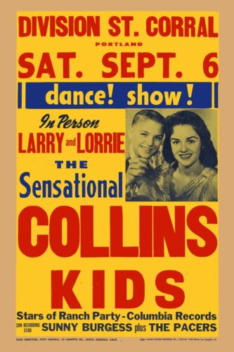 Rockabilly The Collins Kids /& Sonny Burgess In Portland Poster 1958  12x18
