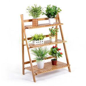 ... Wooden Ladder Plant Pot Stand Flower Display Shelves