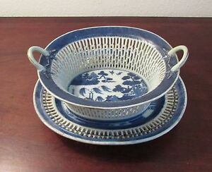 Antique-Chinese-Export-Canton-reticulated-fruit-basket-Chestnut-18th-19th
