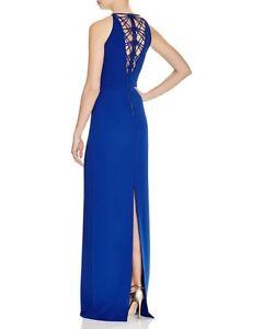 46e32b74c35d Badgley Mischka ~ Blue Halter Neck Lattice Back Column Formal Gown 8 ...