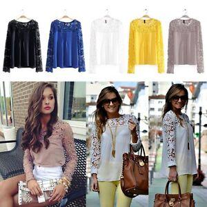 Fashion-Women-Sheer-Sleeve-Embroidery-Lace-Crochet-Tee-Chiffon-Shirt-Top-Blouse
