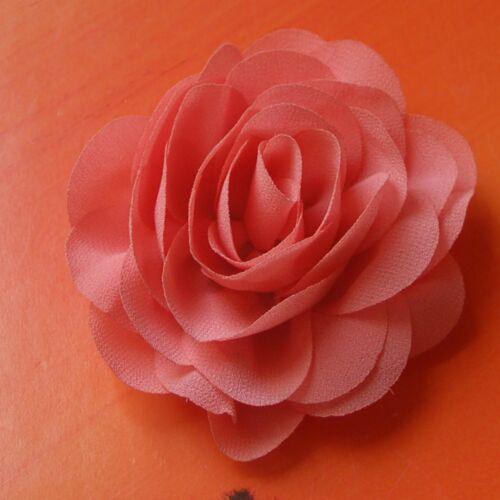 2 große Rosetten Georgette 85 mm Blüten Textilrosetten Rosen Farbwahl