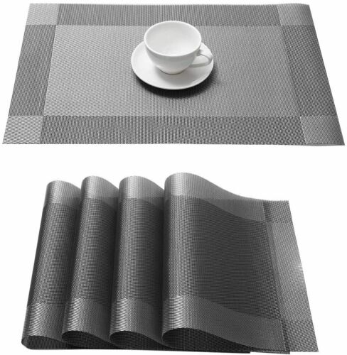 4Pcs Placemats Set Woven Vinyl PVC Table Mats 12x18/'/' for Dining Kitchen Decor