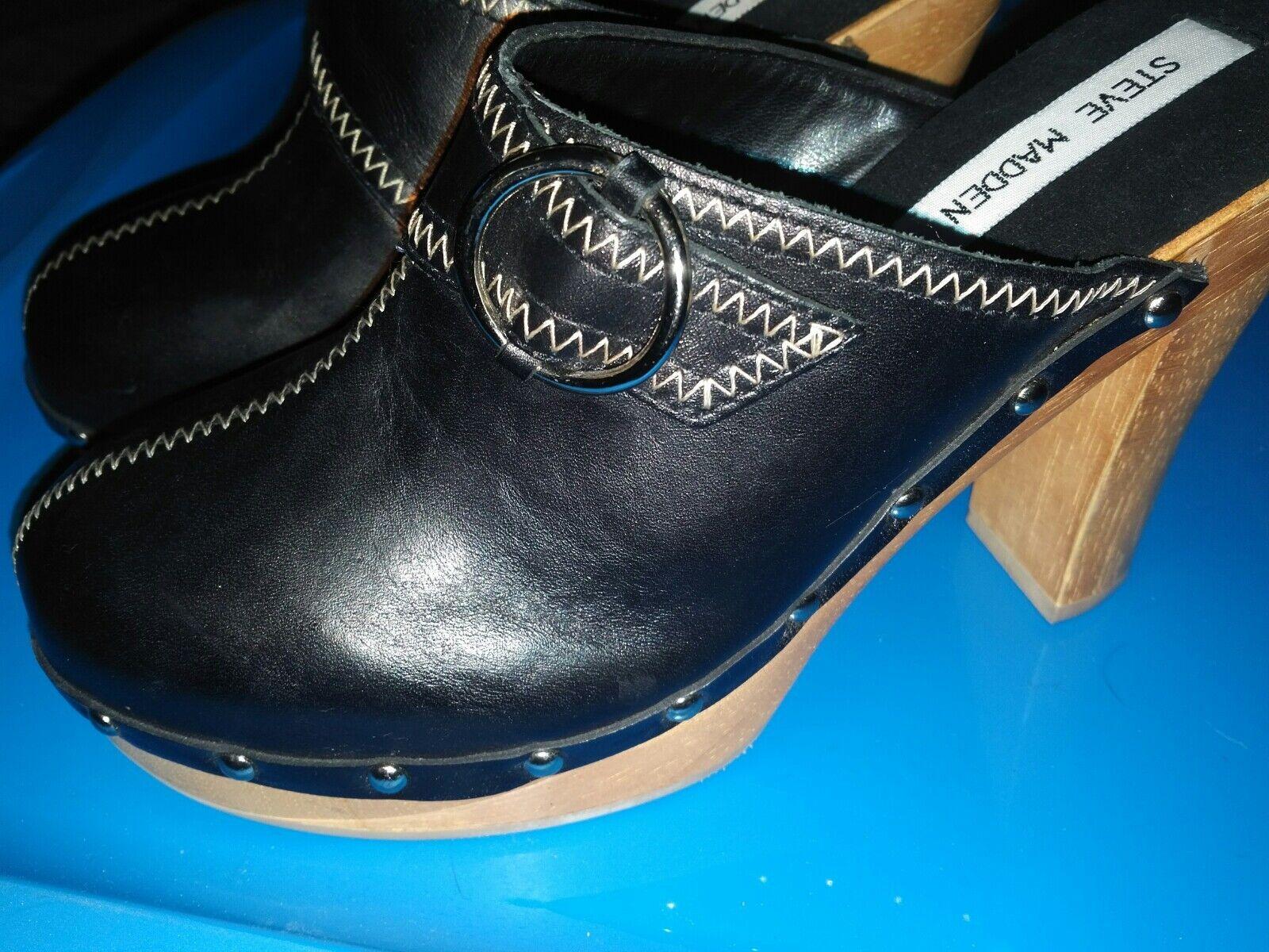 Steve Madden Size 7 B Faris Faris Faris Black Leather Slip on Clog Wooden Heel wood platform 22e28d