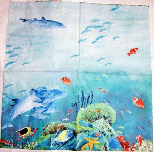 3 Lunch Servietten Unterwasser basteln Meer Bunte Fische Delphine Riff Seestern