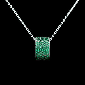 1CT-Created-Green-Emerald-Pave-Charm-925-Tone-Sterling-Silver-Necklace-18-034