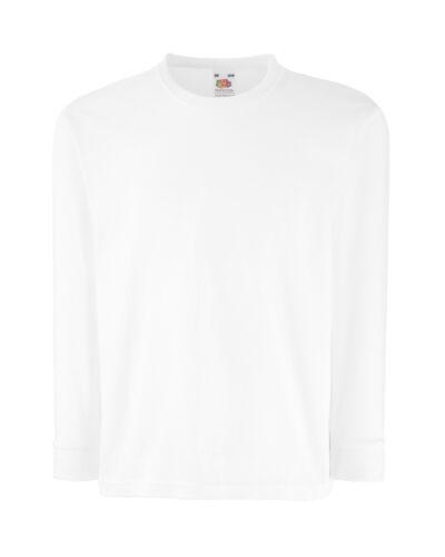 Unisex Kids Tops Fruit Of The Loom Children/'s Valueweight Long Sleeve T-Shirt