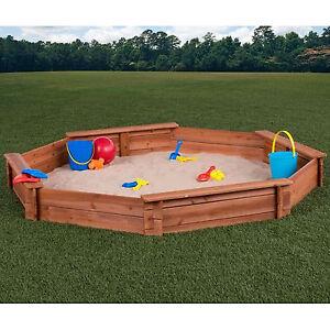 Sand Backyard sandbox with cover 6.6' octagon outdoor backyard toddler kids cedar