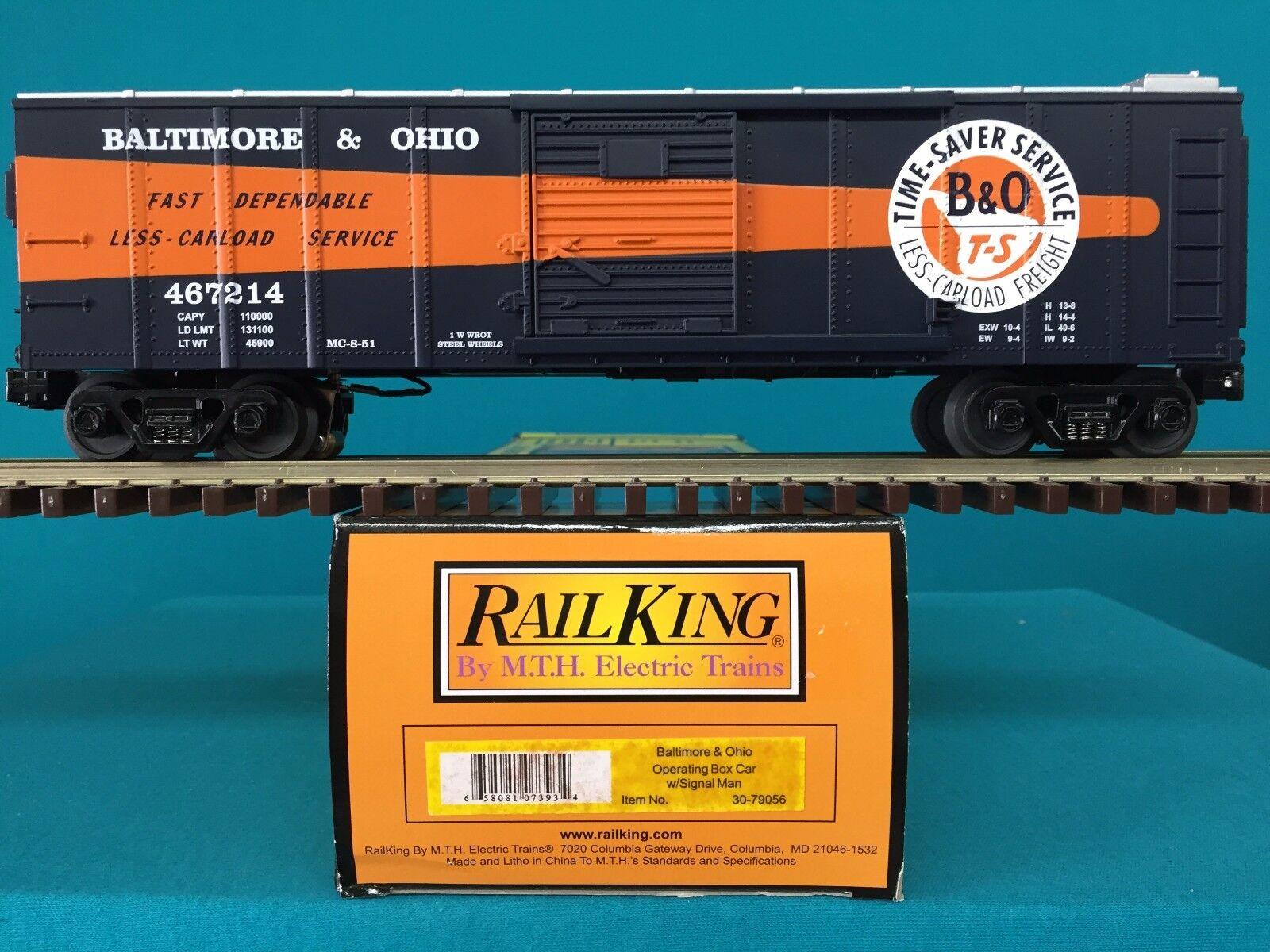 MTH Railking Box Car Baltimore & Ohio Operating Box Car w Signal Man 30-79056
