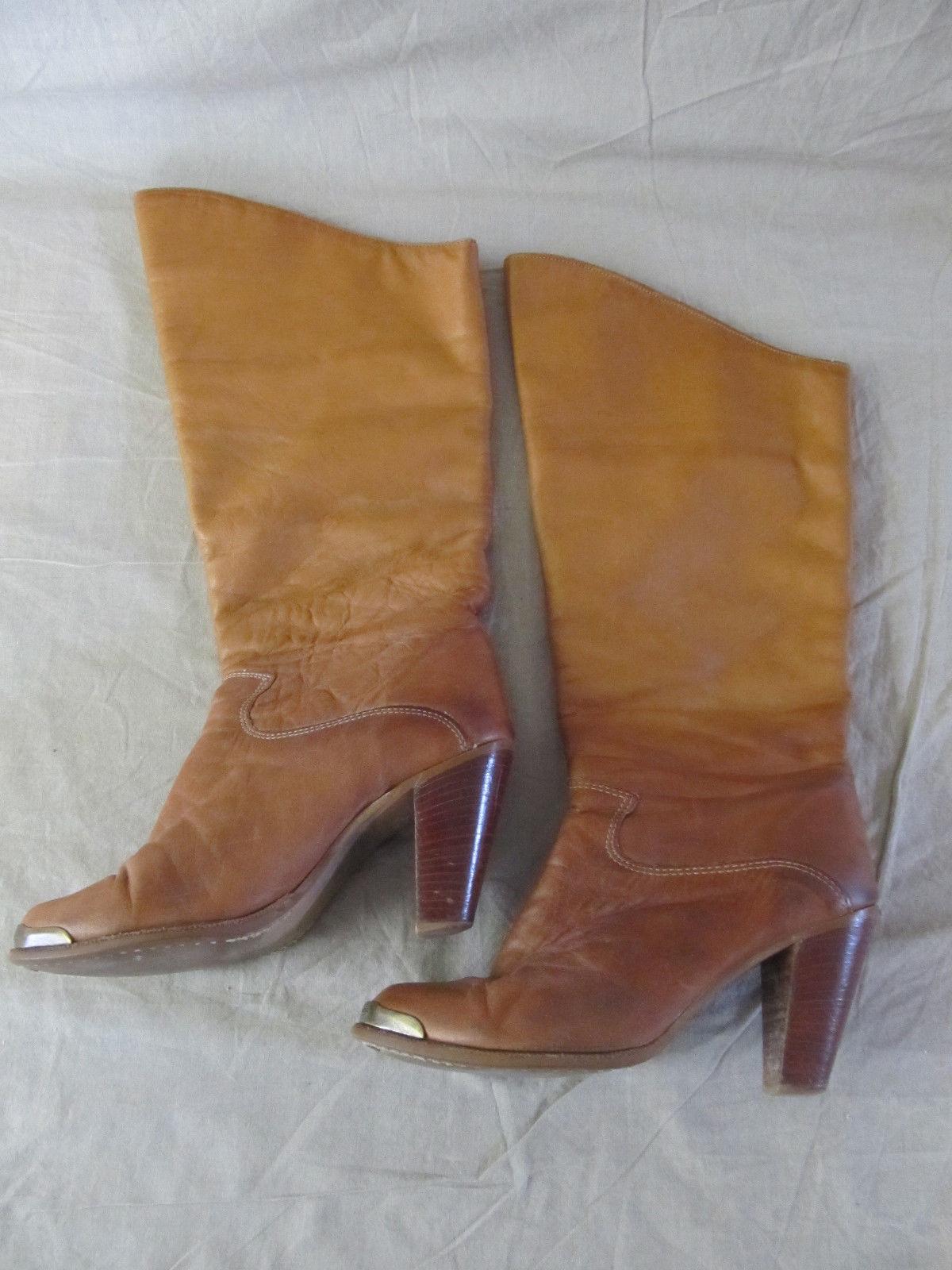 Para mujer Vintage Zodiaco Usa Usa Usa Rojizo occidental de cuero apilados Taco Alto botas Talla 7.5  barato