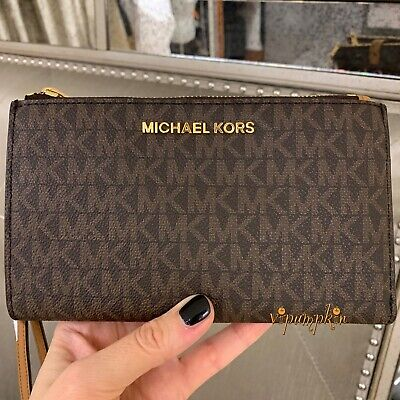 Michael Kors Jet Set Travel Doppia Zip Braccialetto MK TELEPHONO CASE WALLET Marrone | eBay