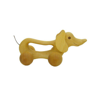 "Baby Estia 620303 Gripping Animal "" Dog "" Sliding Roll-along Natural Wood New #"