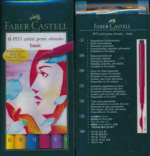 Faber-Castell 6 Pitt Artist Pens Brush Basic NEW