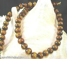 """8mm Pacific Modified Black (Golden) Coral Calibrated Round Bead Necklace 17"""""""