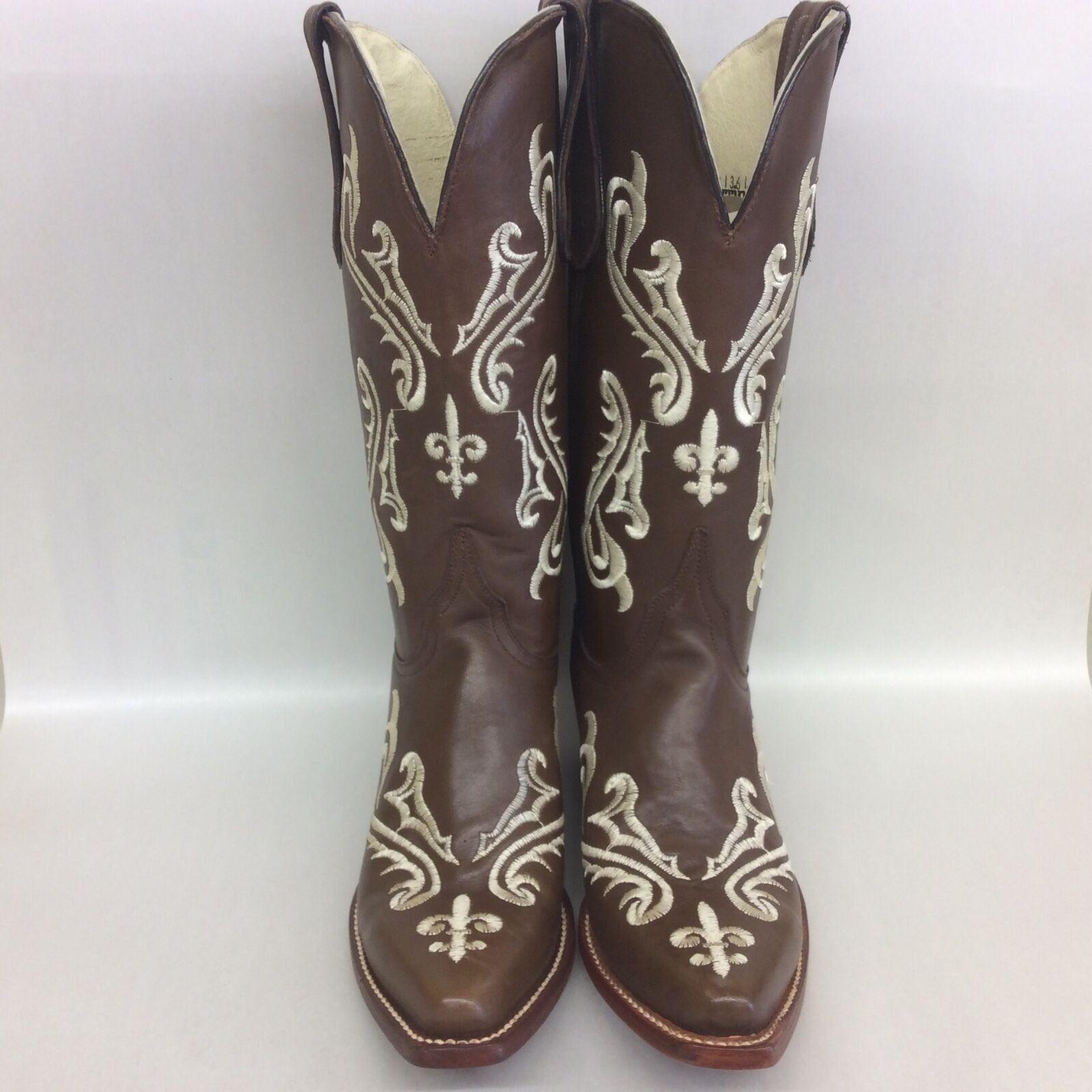 Ferrini Western Boots Women 8136110 Dark Brown White Size 7B