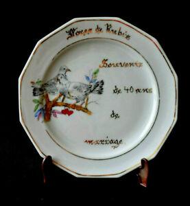 Détails Sur Assiette Porcelaine Anniversaire De Mariage Noces De Rubis 40 Ans