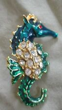 Vintage Blue & Green Enamel Seahorse with Crystals Pin/Brooch