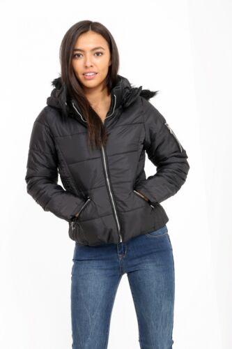 NUOVA COLLEZIONE DONNA GIACCA IMBOTTITA con colletto staccabile pelliccia cappotto Top 8-14