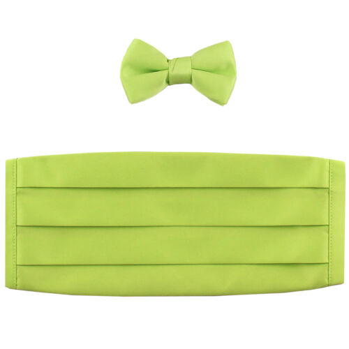 NEW in box 100/% polyester boys kids Cummerbund /& bowtie set formal Lime Green