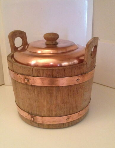 Antique Vintage Thermos #930 England Ice Bucket Copper & Oak Rare 1950s Complete