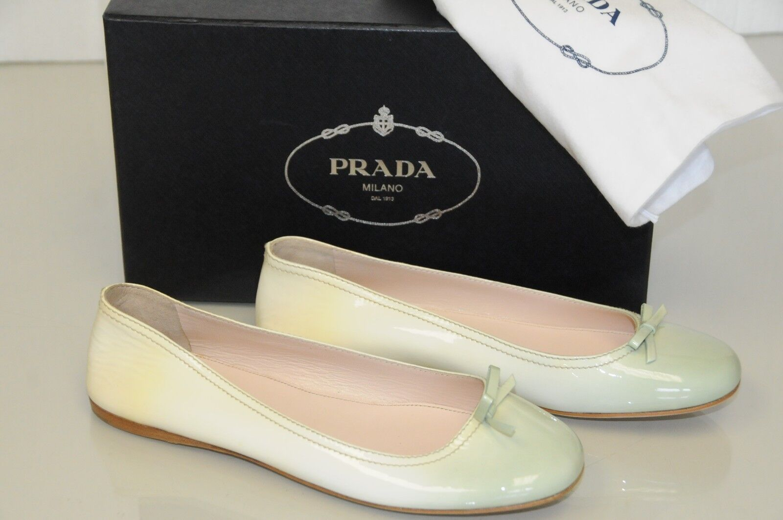 NEW Prada Flats Gradient Patent Pale Shoes Green Yellow Cream Bow Flat Shoes Pale 40 3f345f