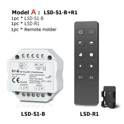 Triac LED RF Funk Dimmer Push Switch 2.4G Remote Controller for Single Color
