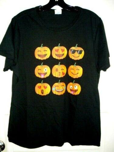 New Halloween Pumpkin Ladies Girls Gothic Black Orange T-Shirt L//XL 16-18