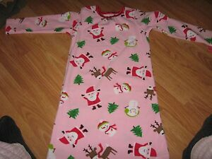 caef53a8d CARTERS GIRLS SIZE 4 5 NIGHTGOWN CHRISTMAS SANTA PRINT PINK FLEECE ...