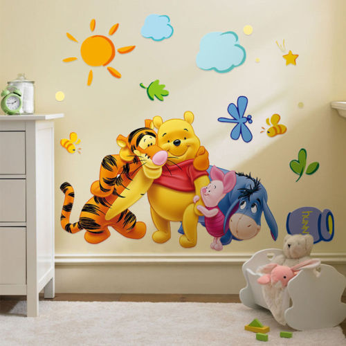 1x Cute Winnie The Pooh Nursery Room Wall Decal Decor Stickers Kids Baby Bedroom
