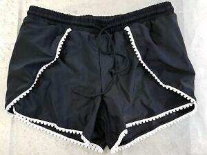 Zesica-Black-Scalloped-Hem-Faux-Wrap-Boyshort-Swim-Shorts-Medium-NWOT