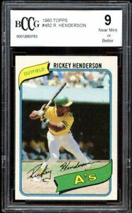 1980 Topps #482 Rickey Henderson Rookie Card BGS BCCG 9 Near Mint++