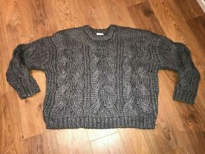 Ex Bon Marche Chunky Knit Jumper Teal Grey Navy Long Sleeve Size 10-28 rrp £25