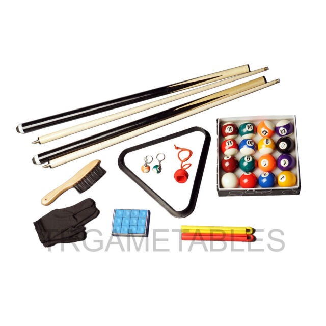 Compact Accessories Kit for Pool Snooker Billiard Game - Cues Balls Triangle