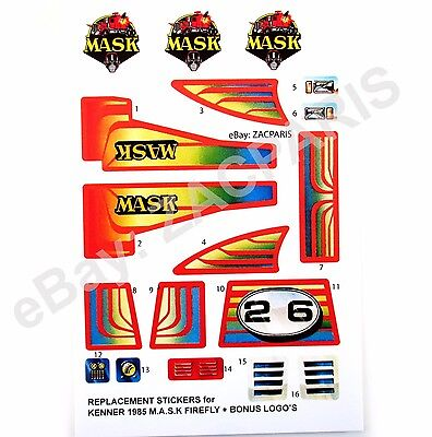 Replacement M.A.S.K.Outlaw MASK Kenner vinyl sticker//label//decal sheet