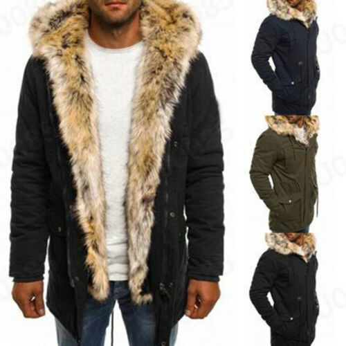 Men Winter Warm Outdoor Coat Hooded Pocket Parka Jacket Overcoat Faux Fur Collar